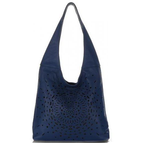 Modne Ażurowe Torebki Skórzane Vittoria Gotti Made in Italy Niebieskie (kolory), kolor niebieski