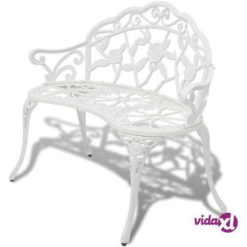 vidaXL Ławka ogrodowa, 100 cm, odlewane aluminium, biała (8718475973089)