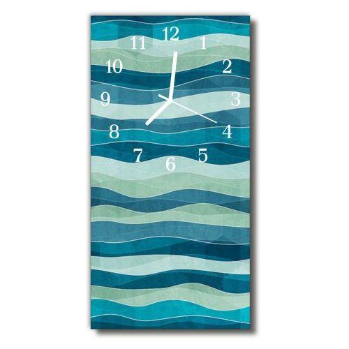 Zegar Szklany Pionowy Natura Fale abstrakcja niebieski, kolor niebieski