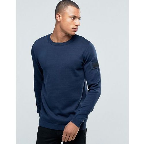 Jack & Jones Knitted Crew Jumper with Arm Badge - Navy