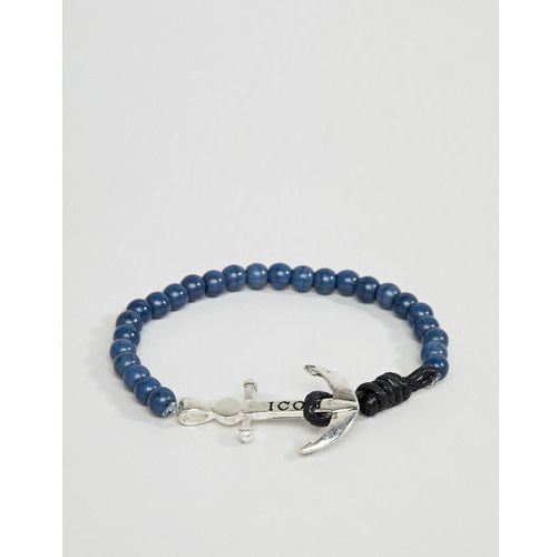navy beaded bracelet with anchor closure - navy marki Icon brand