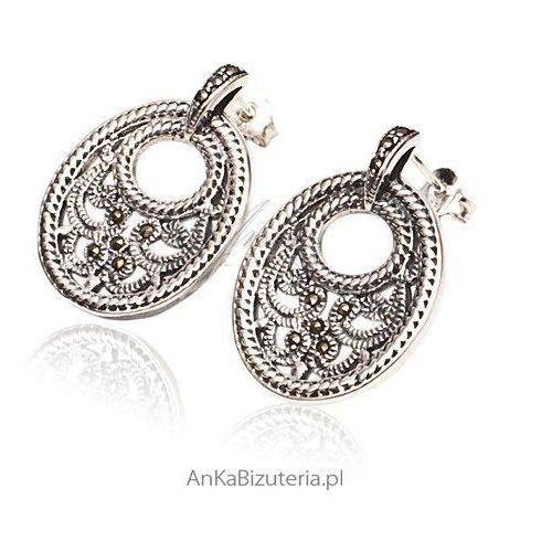 Misaki - kolczyki srebrne z markazytami - ażurowe, filigranowe kolczyki marki Anka biżuteria