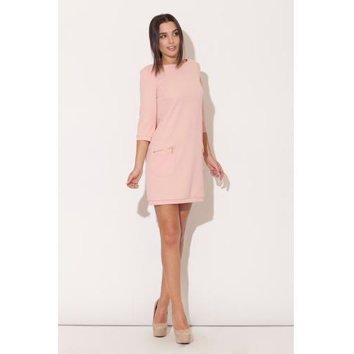 Różowa Mini sukienka z Rękawem 3/4 i Kieszeniami, w 4 rozmiarach