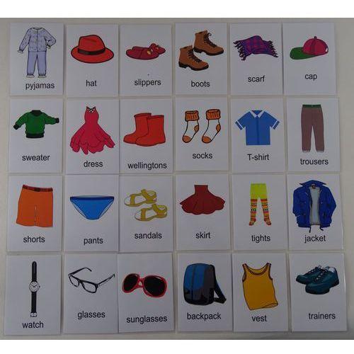 Ubrania / akcesoria karty edukacyjne - wersja w j. angielskim marki Bystra sowa