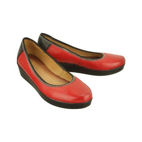 Maciejka 01835-08/00-1 czerwono-czarny, czółenka damskie - czerwony