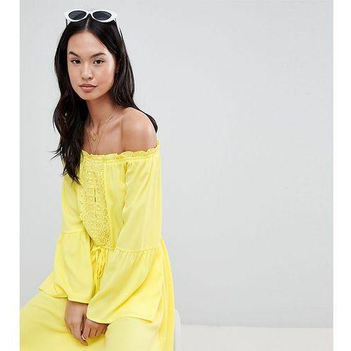 Boohoo Lace Detail Bardot Summer Dress - Yellow