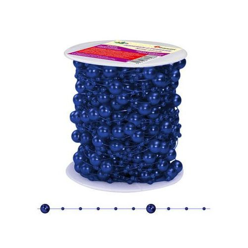 Girlanda perłowa sznurek z perełkami granatowy 20m - granatowy / perłowy marki Titanum