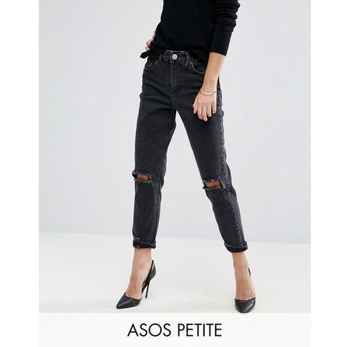 ASOS PETITE Farleigh Slim Mom Jeans In Washed Black With Busted Knees - Black