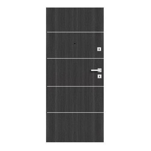 Drzwi zewnętrzne drewniane Dominos Alu 90 lewe grafitowe (5902689038396)
