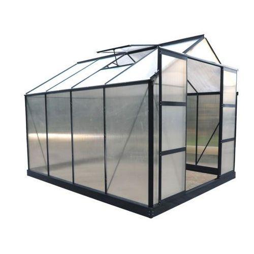 Vente-unique Szklarnia ogrodowa z poliwęglanu 7.5 m² greenea ii z podstawą - antracyt