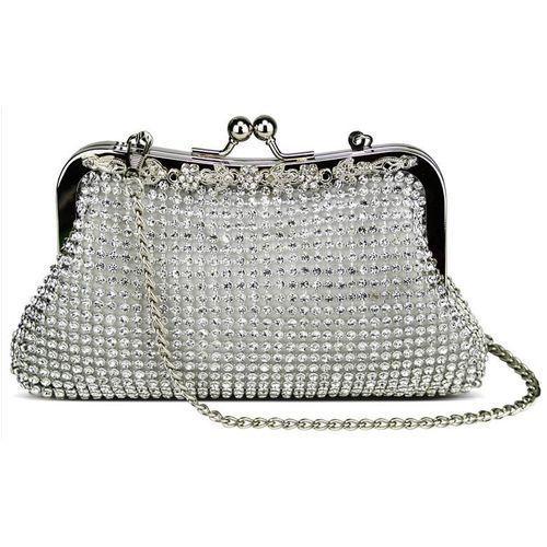 Zjawiskowa srebrna torebka wizytowa z kryształków, kolor szary