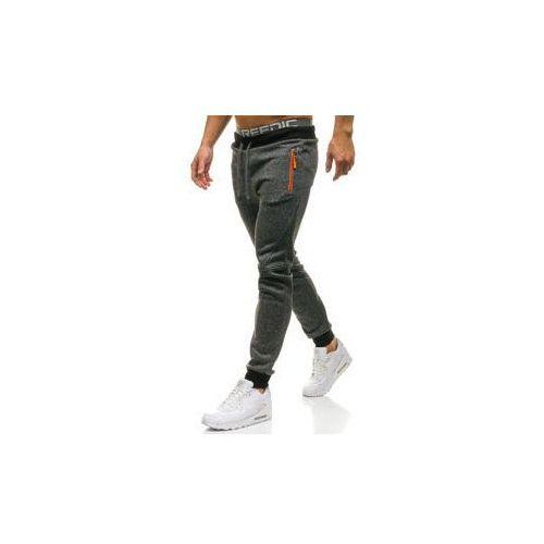 Spodnie męskie dresowe joggery czarne denley w1211, Red fireball