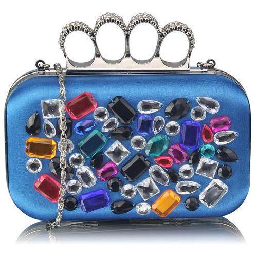 Wielka brytania Niebieska torebka wizytowa szkatułka z kolorowymi kryształkami - niebieski ||kolorowy