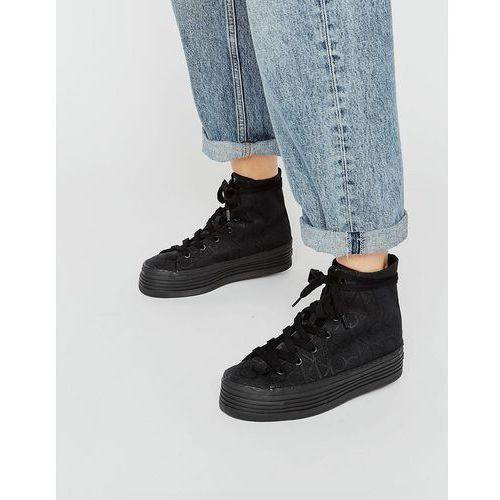 Calvin Klein Jeans Zabrina CK Logo Black Flatform Hi Top Trainers - Black - sprawdź w wybranym sklepie