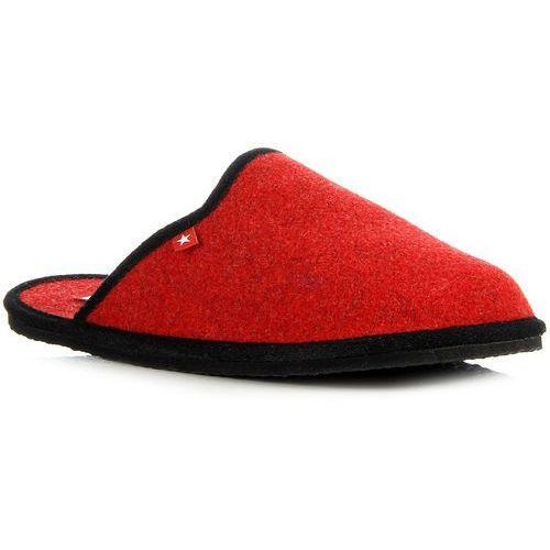 Czerwone laczki damskie domowe lekkie Big Star D267805 - czerwony, kolor czerwony