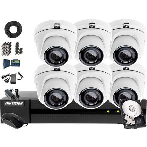 ZM12009 Zestaw do monitoringu Hikvision Hiwatch Turbo HD, AHD, CVI HWD-6108MH-G2, 6 x HWT-T120-M, 4TB, Akcesoria