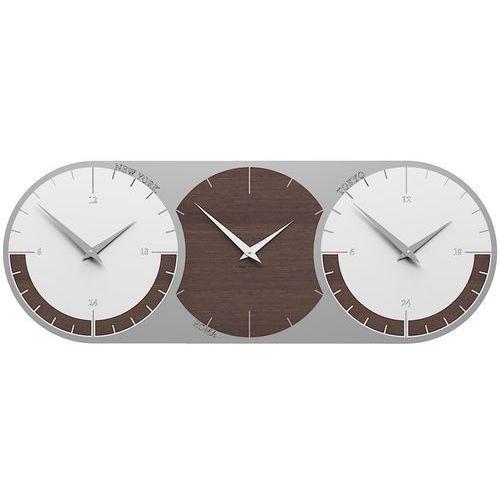 Zegar ścienny - 3 strefy czasowe World Clock CalleaDesign wenge / biały (12-010-89), kolor biały