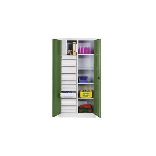 C+p möbelsysteme Szafka na materiały z blachy stalowej,4 półki, 16 szuflad, 1 schowek