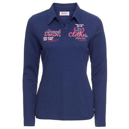 Shirt polo z nadrukiem, długi rękaw niebieski, Bonprix, 40-42