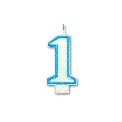 Świeczka cyferka jedynka 1 biało - niebieska z brokatem - 1 szt.