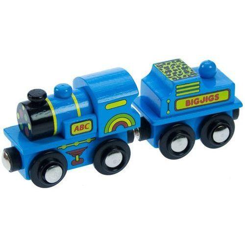 Bigjigs toys Niebieska lokomotywa abc do zabawy, wyposażenie kolejek drewnianych bigjigs