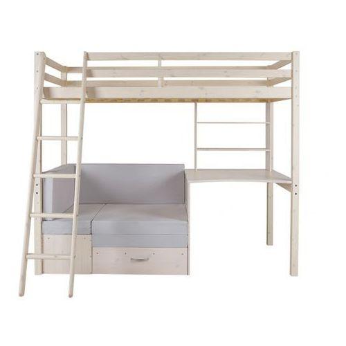 Vente-unique Łóżko antresola goliath z biurkiem, sofą i szafkami - 90 × 200 cm - lite drewno sosnowe - bielone