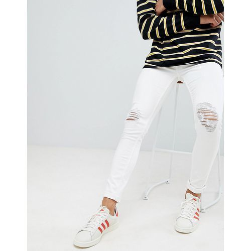 super skinny jeans with knee rips in white - white marki New look