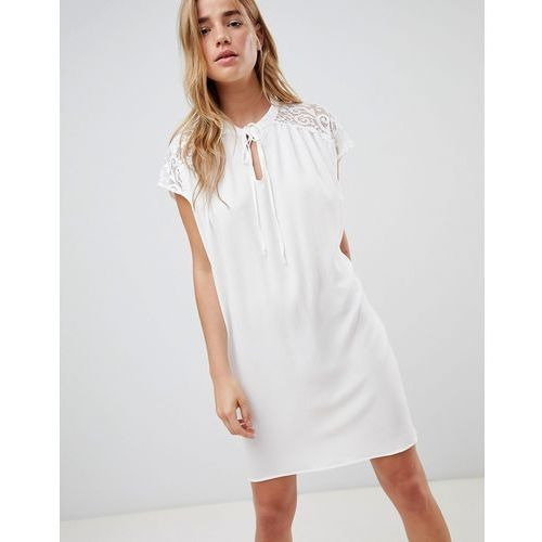 QED London Shift Dress With Lace Insert - White