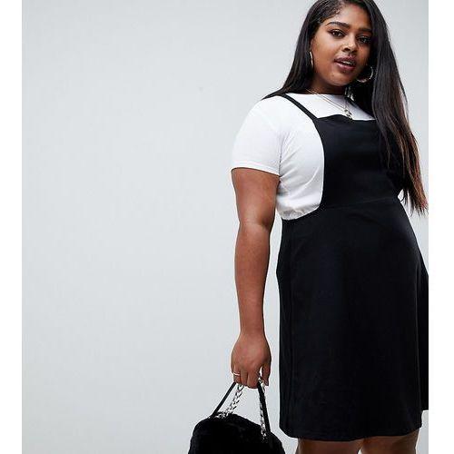Asos curve Asos design curve square neck mini pinafore dress - black