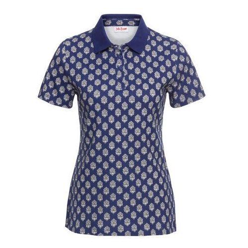 Shirt polo z nadrukiem kobaltowy z nadrukiem marki Bonprix