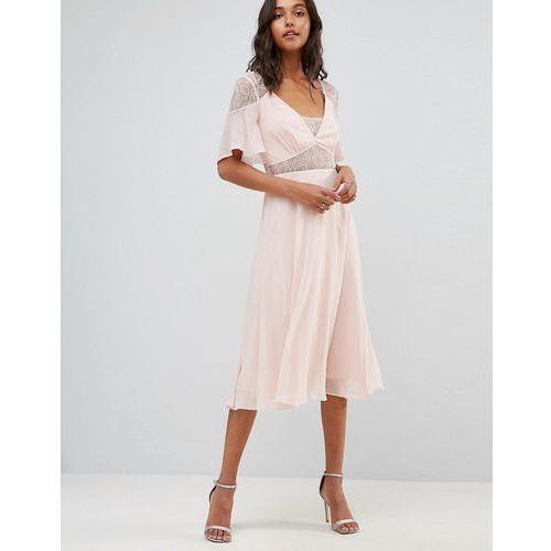 lace insert flutter sleeve midi dress - pink marki Asos