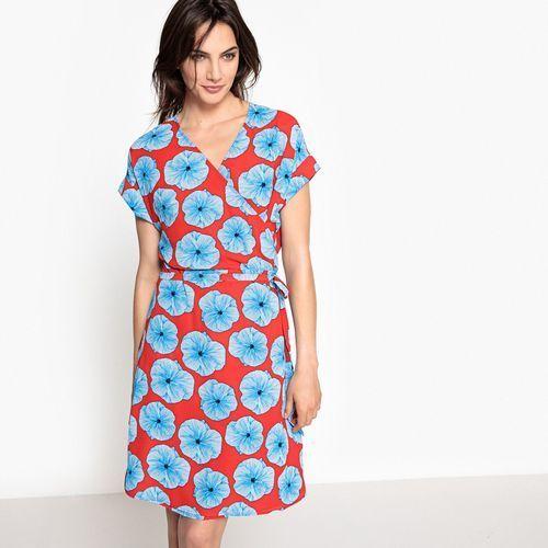Półdługa sukienka portfelowa w kwiaty