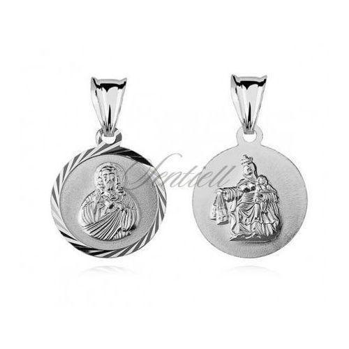 Srebrny medalik jezus / matka boska szkaplerzna - md110, marki Sentiell