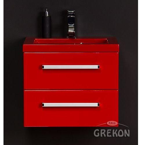 Czerwona szafka wisząca z umywalką 50/39/2CZ seria Fokus CZ