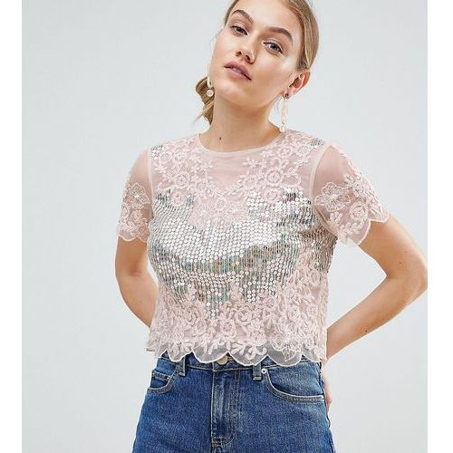 ASOS DESIGN Petite t-shirt with all over sequins & pretty lace detail in pink - Pink, kolor różowy