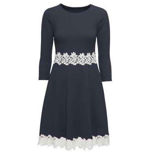 Sukienka z koronkową aplikacją ciemnoniebieski marki Bonprix