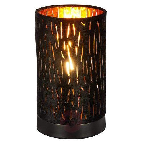 Mała lampa stołowa Tuxon – klosz pokryty aksamitem