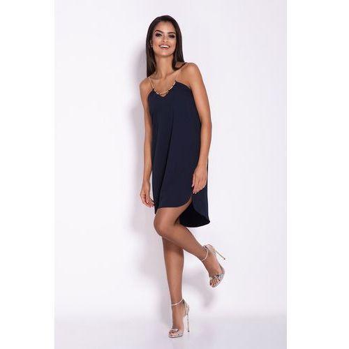 Granatowa elegancka luźna sukienka z wydłużonym tyłem na wesele, 1 rozmiar