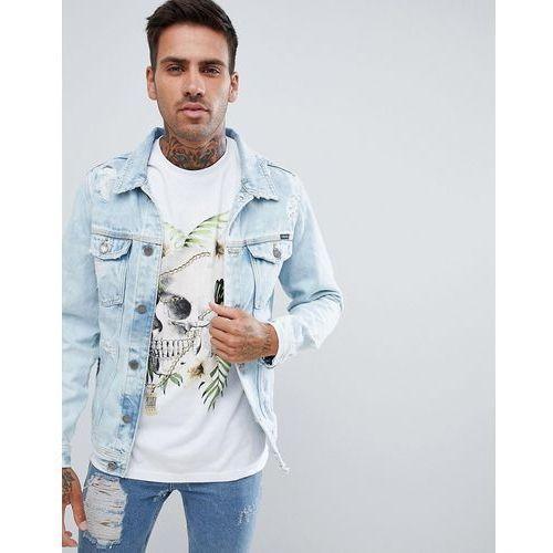 Pull&Bear Denim Jacket With Abrasion In Light Blue - Blue