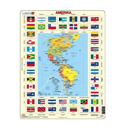 Puzzle MAXI - Mapa Ameriky + vlajky/70 dílků neuveden