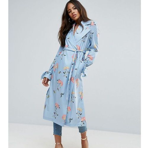 ASOS TALL Printed Coat in Ornate Floral - Blue