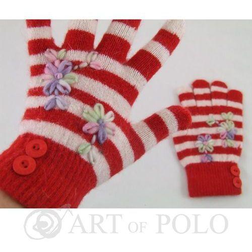 Czerwono-białe rękawiczki damskie w paseczki - czerwony   biały