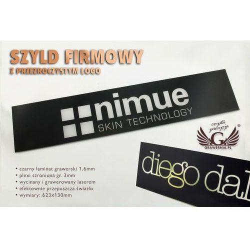 Szyld firmowy czarny z przezroczystym logo - SZ090 - wym. 623x130mm