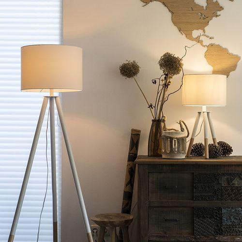 Qazqa Komplet biała lampa stołowa i podłogowa z kloszem - pip
