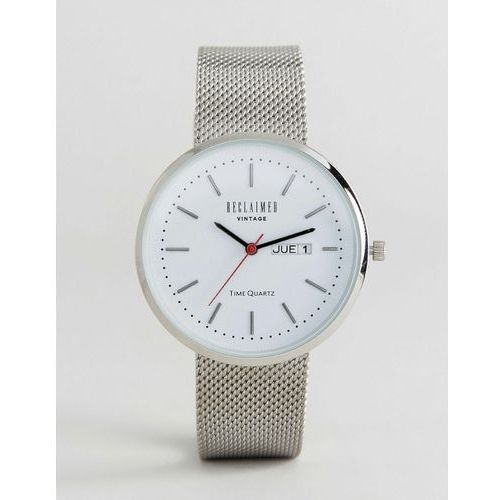 Reclaimed vintage  inspired date mesh watch in silver exclusive to asos - silver