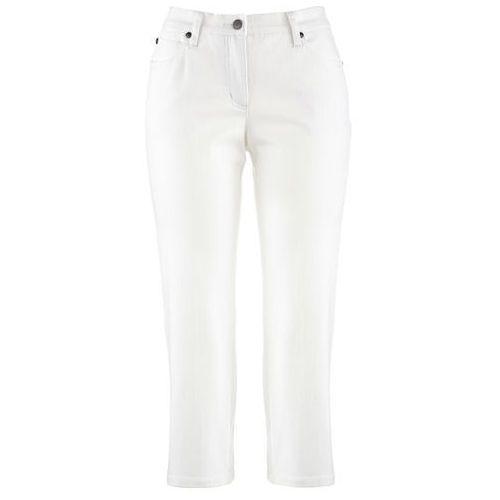 Spodnie 3/4 ze stretchem bonprix biały, kolor biały