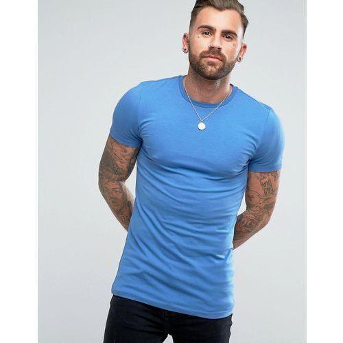 ASOS Longline Muscle T-Shirt With Crew Neck In Blue - Blue, kolor niebieski