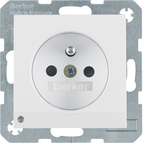 BERKER B.Kwadrat/B.3/B.7 Gniazdo z uziemieniem i podświetleniem orientacyjnym LED, biały, połysk 6765108989 (4011334365686)