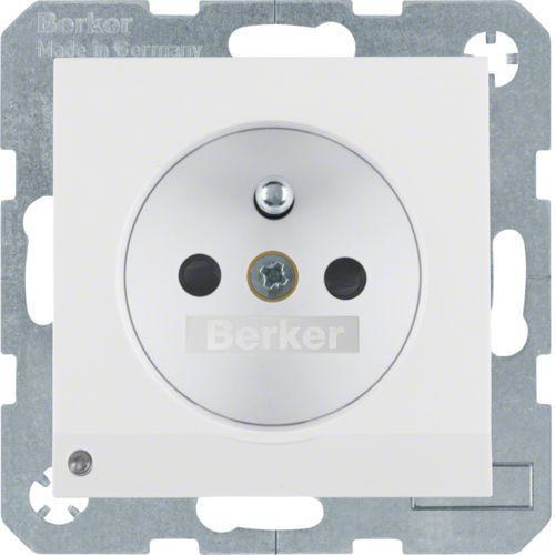 Berker b.kwadrat/b.3/b.7 gniazdo z uziemieniem i podświetleniem orientacyjnym led, biały, połysk 6765108989