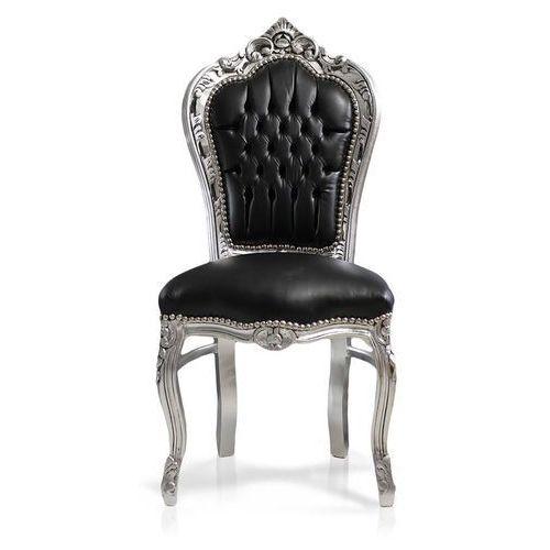 Krzesło dekoracyjne kair, srebrna, drewniana rama, obicie skóra ekologiczna marki Design by impresje24